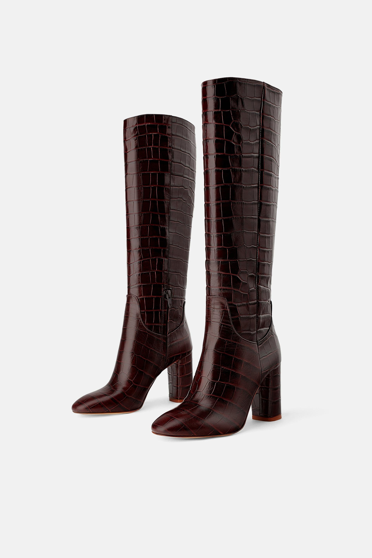 9401b104b HEELED ANIMAL PRINT BOOTS from Zara {paris texas moc croc boots knockoff}