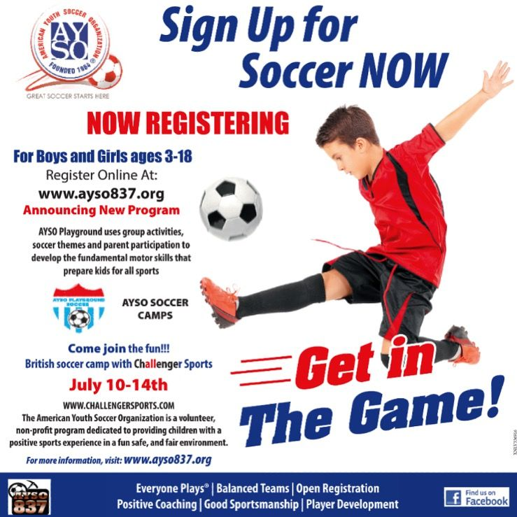 Register Now Online At Www Ayso837 Org For Boys Girls Ages 3 18 Yrs Old Ayso Soccer Camps Get In The Game Ayso Sahuarita Ayso Ayso Soccer Soccer Camp