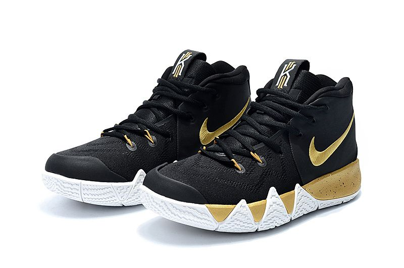 best sneakers 1a848 818d0 Nike Kyrie 4 Black Gold White Cheap Kyrie Shoes 2018