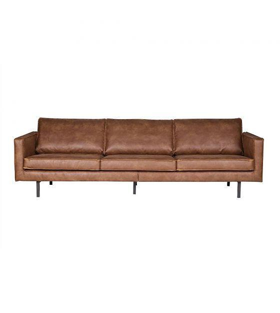 Bruin Leren Bankstel 3 Zits En 2 Zits.Bank Rodeo 3 Zits Cognac Bruin Leer 78x274x87cm Modern Leather