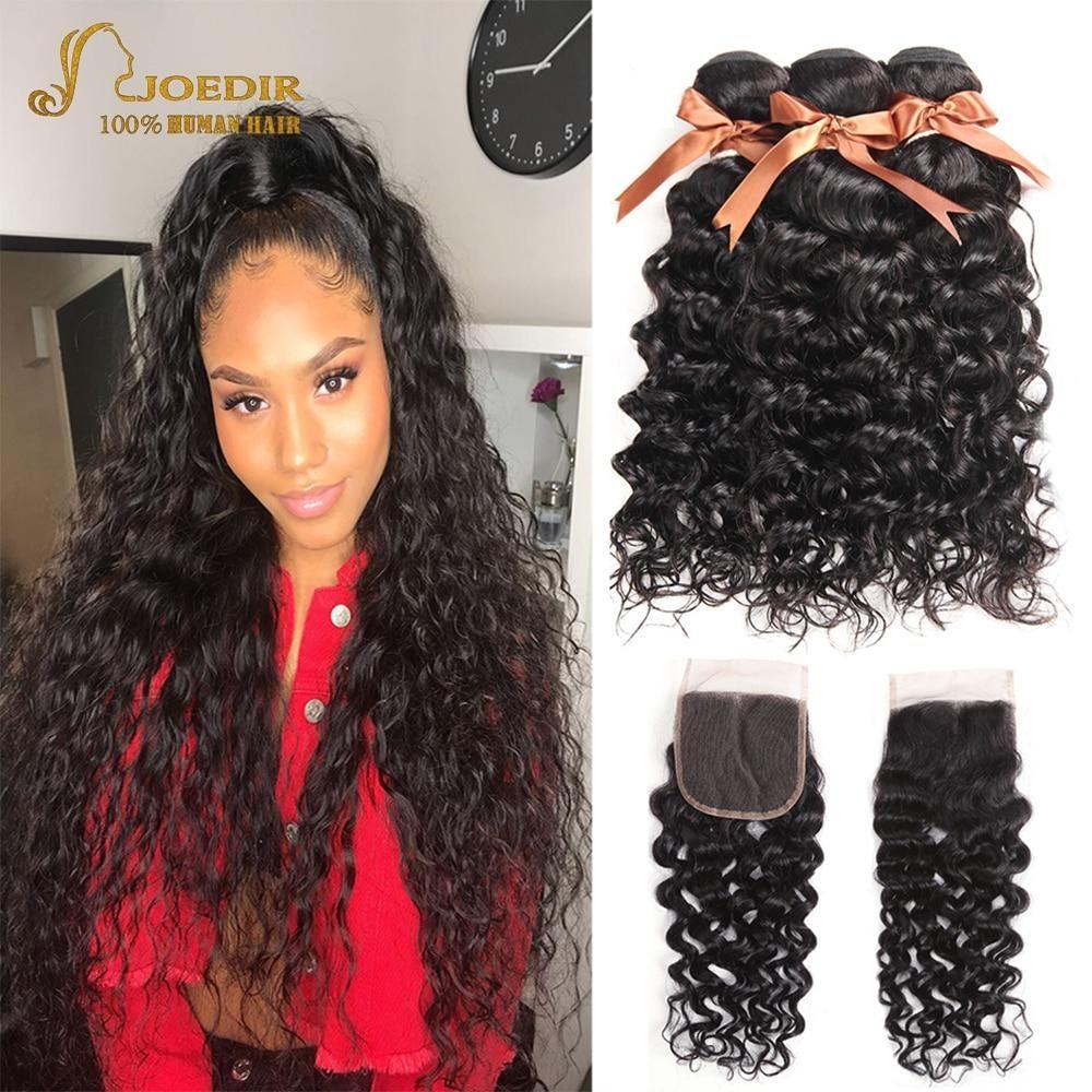 Joedir Water Wave Bundles With Closure Brazilian Human Hair Weave Bundles With Closure 3 Remy Wet And Wavy Bundles With Closure Weave Hairstyles Waves Bundle Smooth Hair