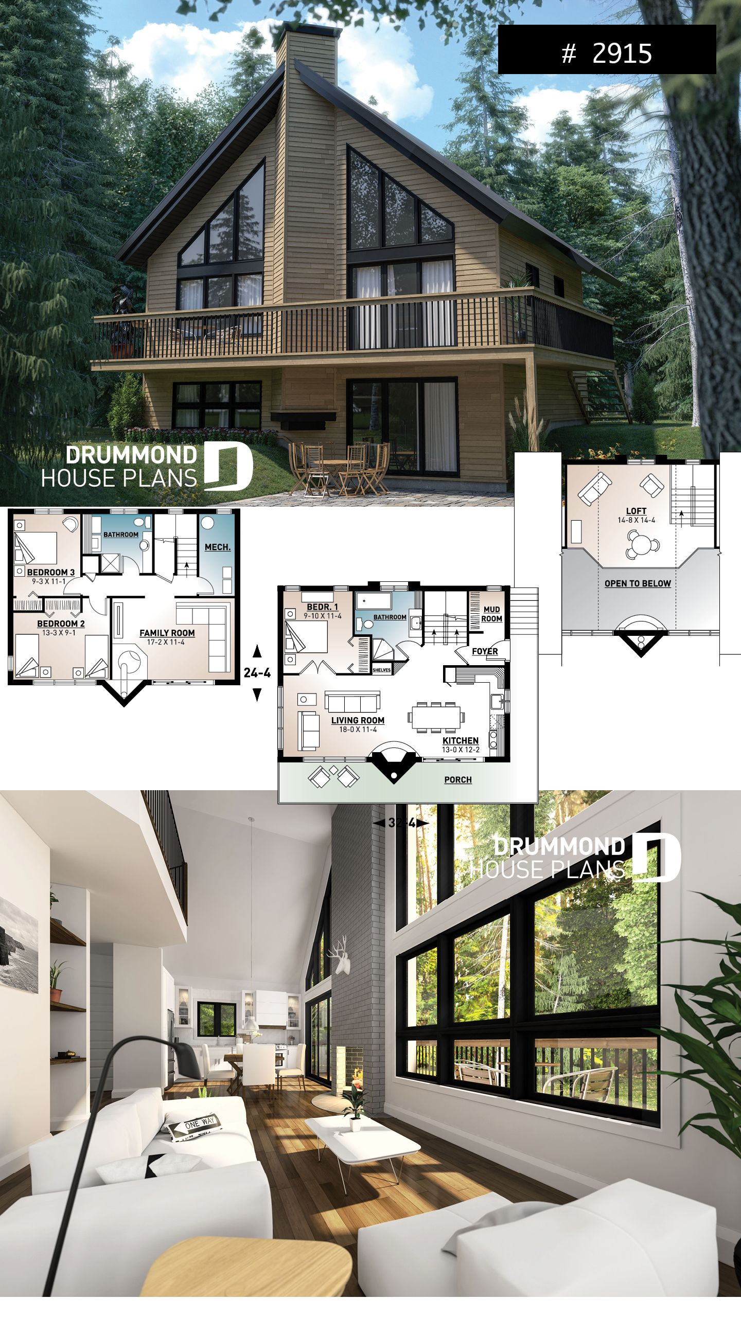 Discover The Plan 2915 Skybridge 3 Which Will Please You For Its 1 2 3 4 Bedrooms And For Its Cottage Chalet Cabin Styles Cottage House Plans Mountain House Plans House Plans