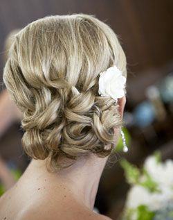 Laura's Wedding Option 4-An elegant up-do; soft-and-low on the nape of the neck provides a great base for a lovely silk or real flower.