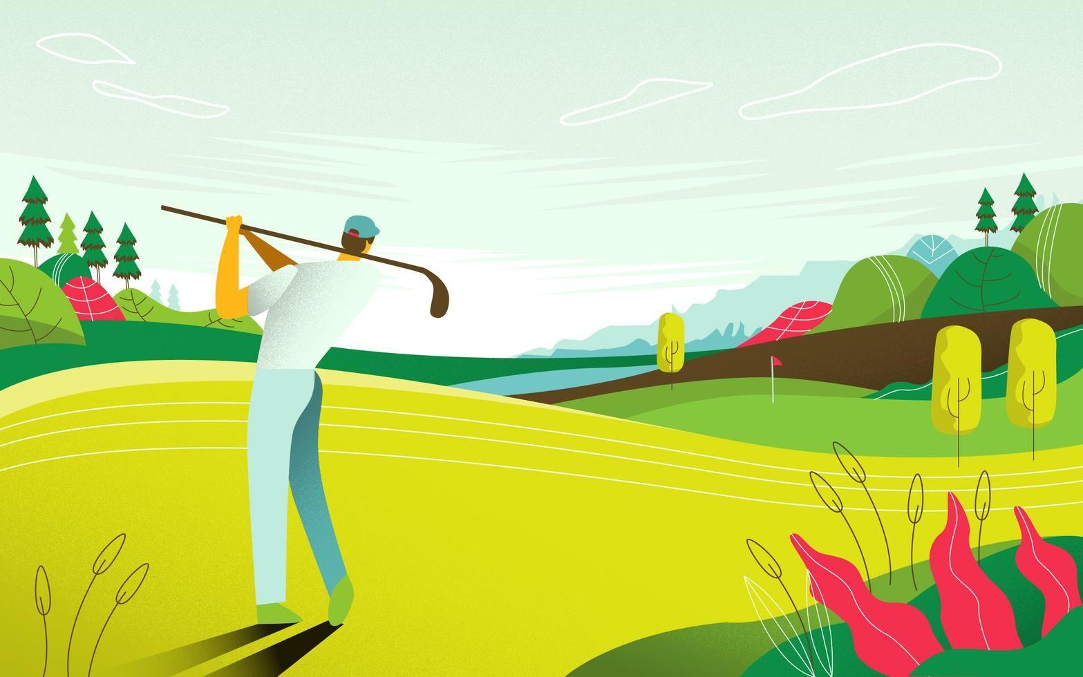 Landscape view golf course tournament map vector flat