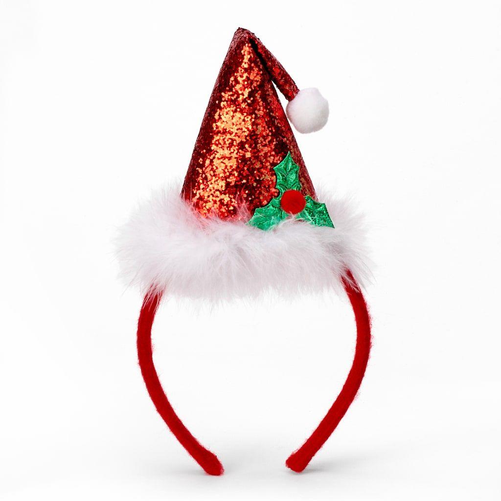 Santa Hat Headband In 2020 Christmas Hair Accessories Christmas Headband Santa Hat