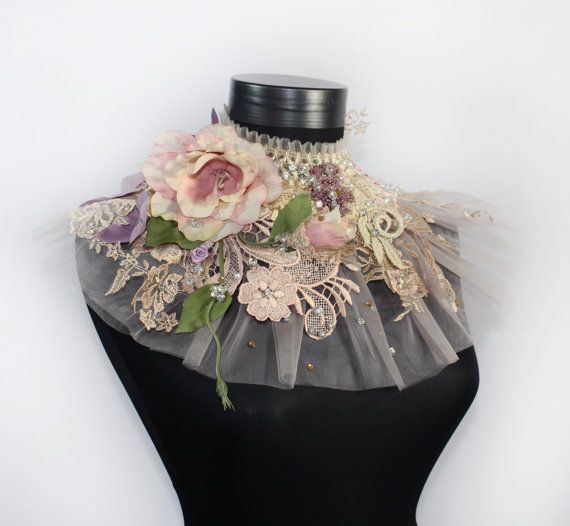 Lavender Victorian Choker Necklace Couture Lace Tulle Fashion