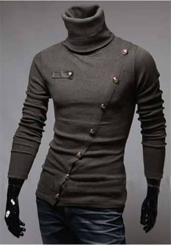 $17.99USD  Oblique-placket-Multi-button-High-collar-Solid-color-Long-sleeved-mens-T-shirt