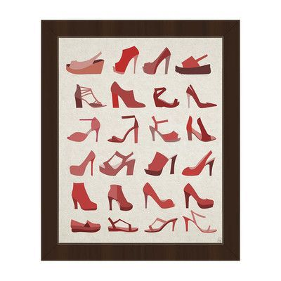 Click Wall Art Shoes Collection Framed Graphic Art on Canvas in Red