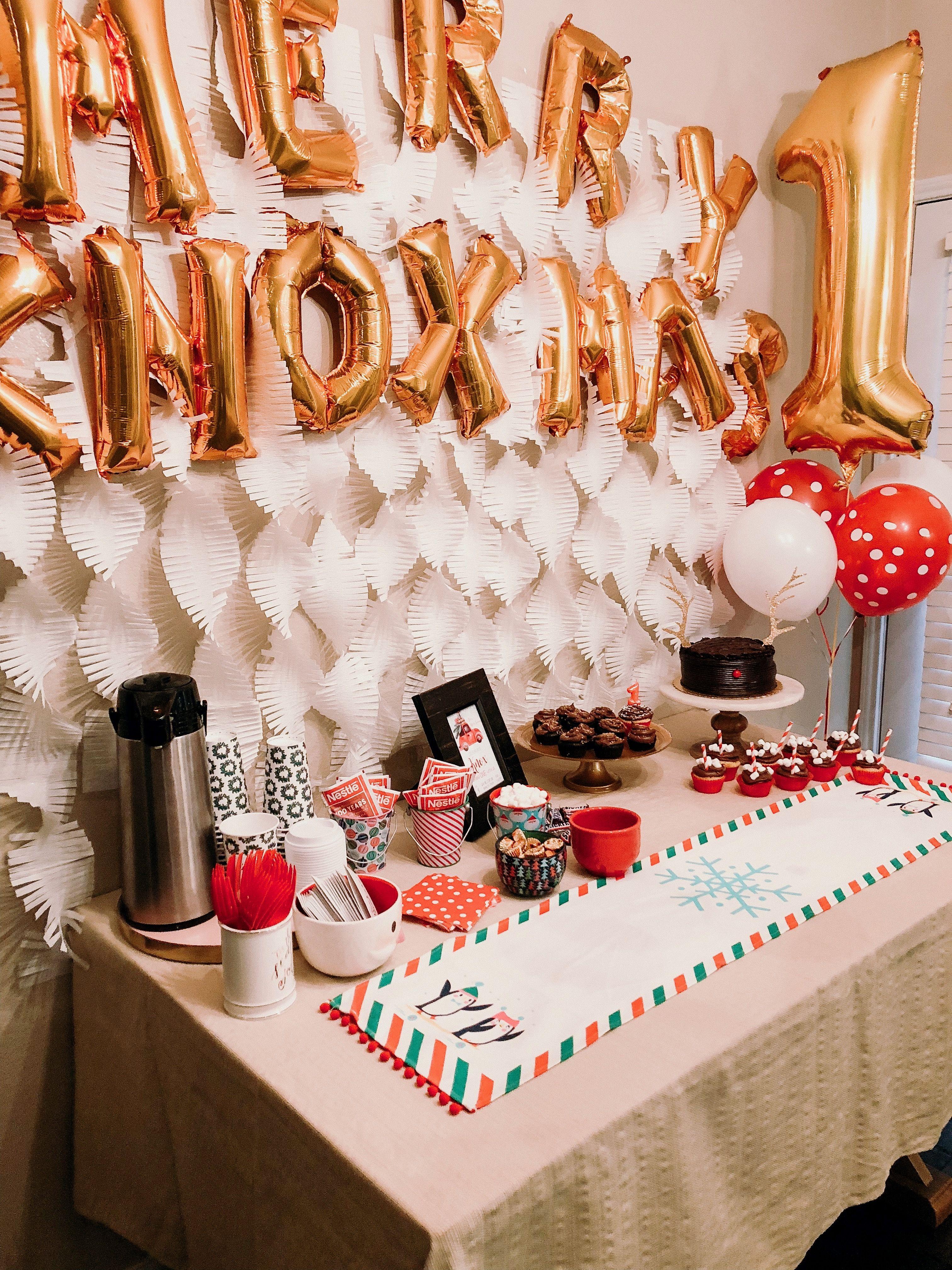 Our Merry Knoxmas Celebration Christmas Birthday Party 1 Year Old Birthday Party Birthday Parties