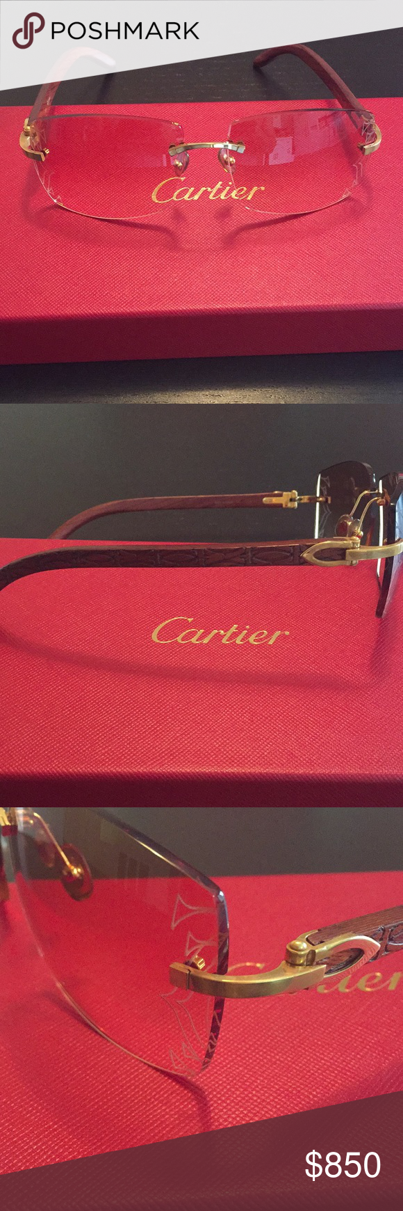 eeaa1eb9f2 Cartier C Decor Wood Frame Rimless Sunglasses (Authentic) Cartier C Decor  Sunglasses. Gold-Tone Hardware   Wood Frames. Comes with original Boxes