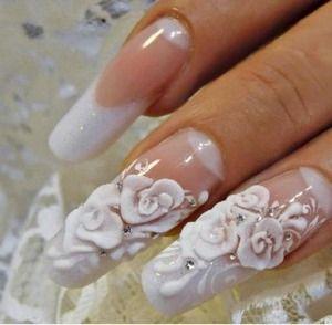 Facebook Nailis Cute White 3d Wedding Nails Follow Me For More