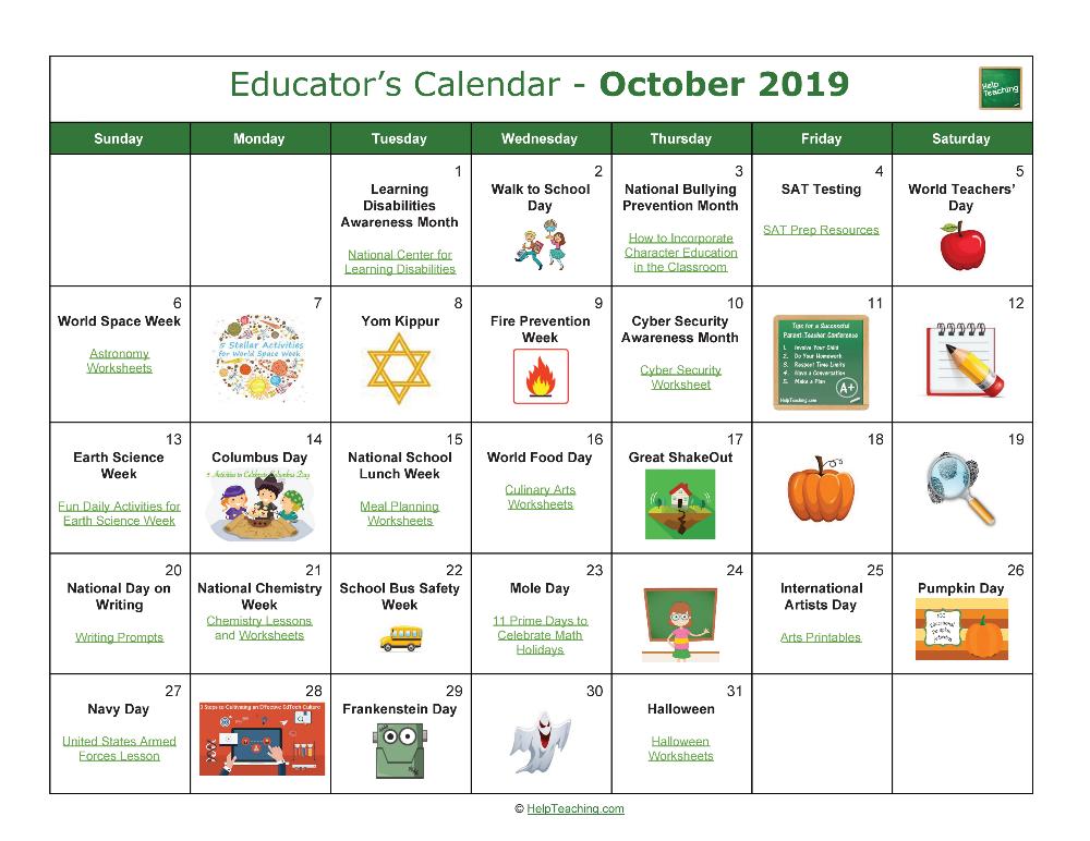 Us Educator S Calendar 2019 2020 Education World Teachers Calendar