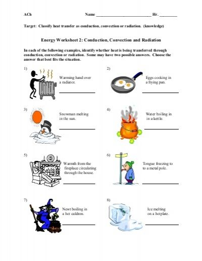 Conduction Convection Radiation Worksheet Conduction Convection