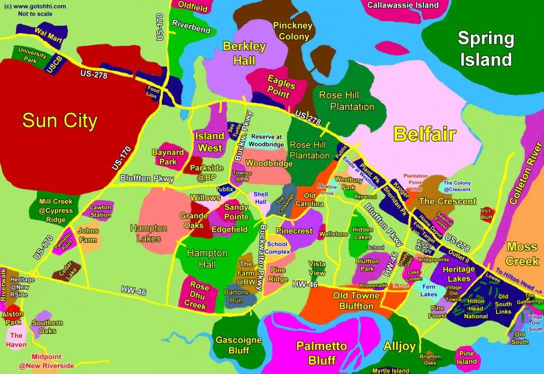City Of Bluffton SC   Bluffton SC Interactive Map - Hilton ... City Map Of Bluffton In on city of bluffton indiana, city of bluffton sc map, huntington county in map,