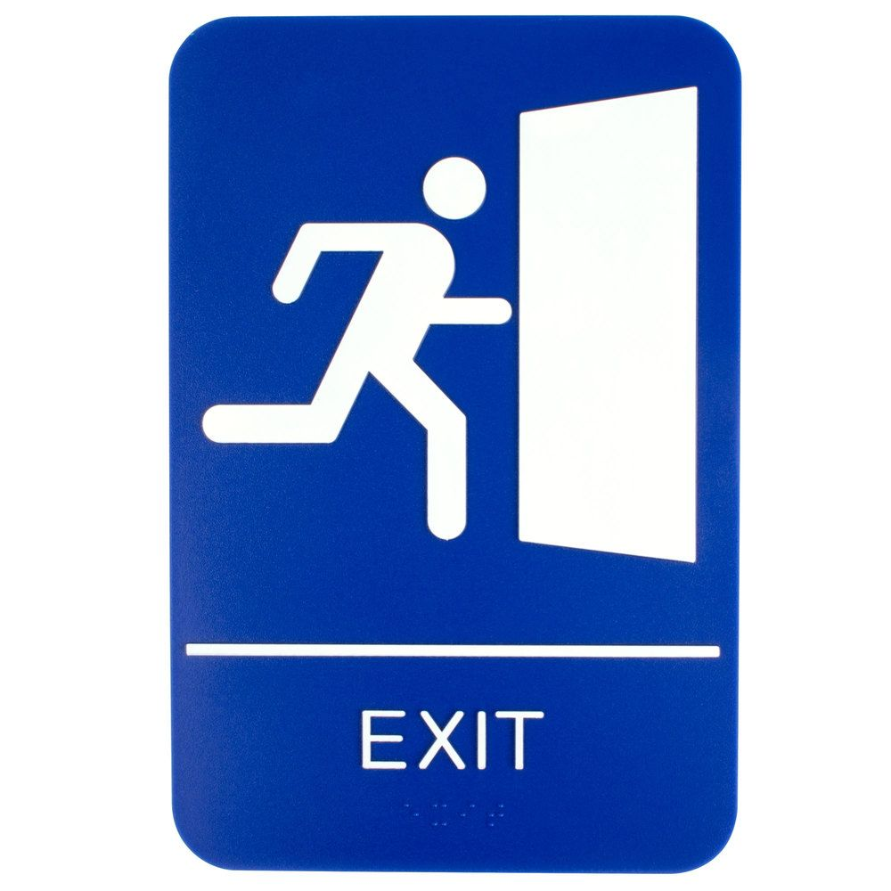 Ada Exit Sign With Braille Blue And White 9 X 6 Exit Sign Wet Floor Signs Plastic Signs