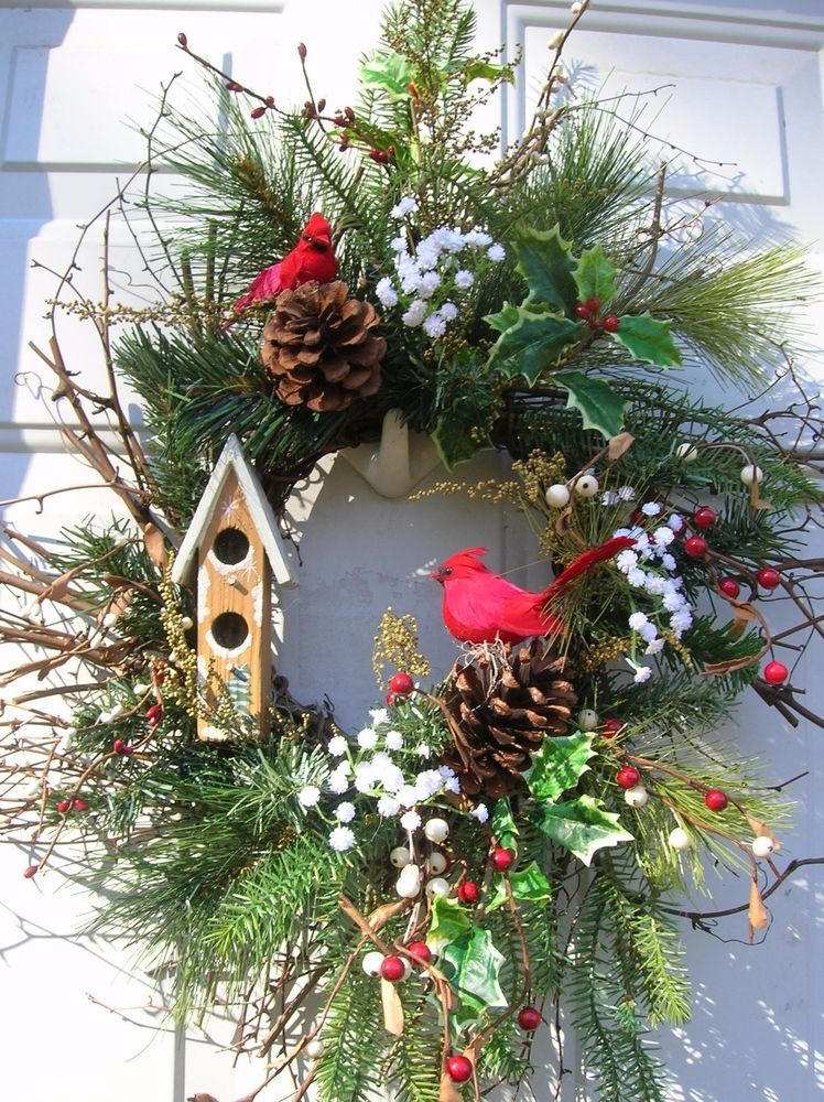 Winter Christmas Holiday Floral Birdhouse Door Wreath