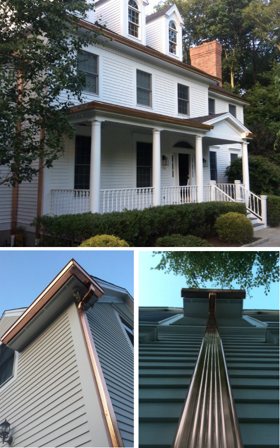 The Brothers That Just Do Gutters Ny Installed A New 6 K Style 16 Oz Copper Seamless Gutter System With 3x4 Copper Downspo Gutters Home Builders Diy Gutters