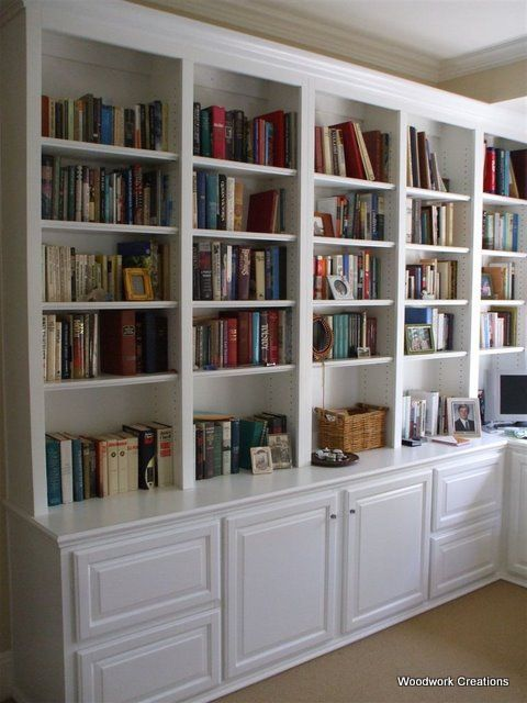 built-in bookshelves WITH cabinets--don't know how much of that - How Much For Those Gorgeous Built-In Bookshelves? Open Shelves