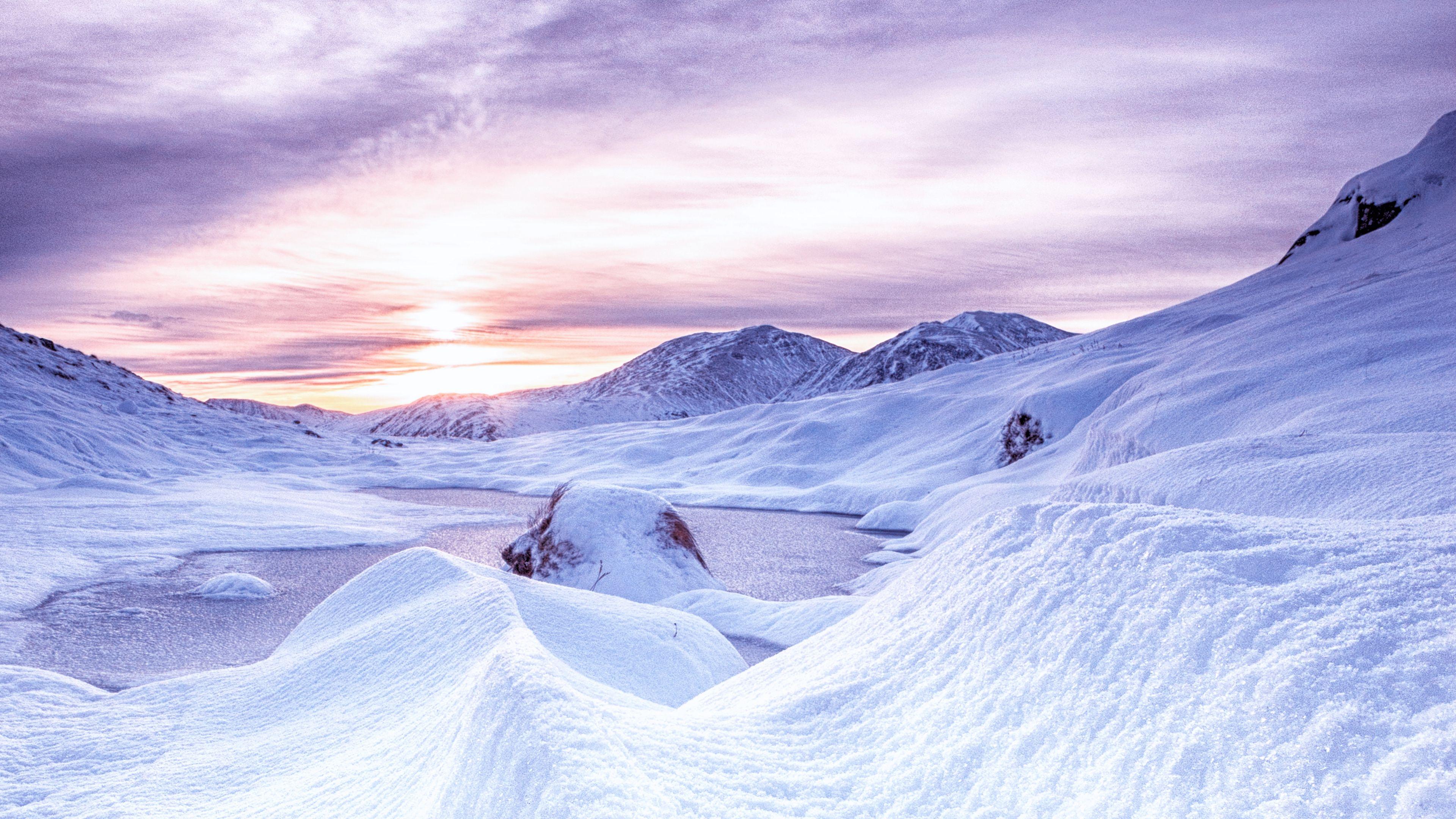 Snow Mountains Dawn Scotland 4k Snow Mountains Dawn Winter Wallpaper Backgrounds Desktop Snow