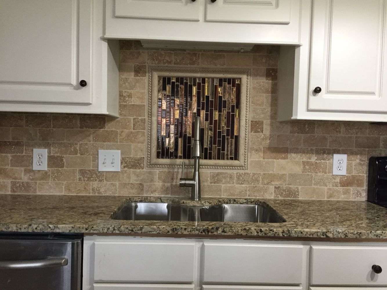 Backsplash Behind Sink Noce Tumbled Stone Kitchen Backsplash With Custom Design Over Sink