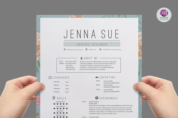 Super chic , modern resume template by Chic templates on Creative - modern resume sample