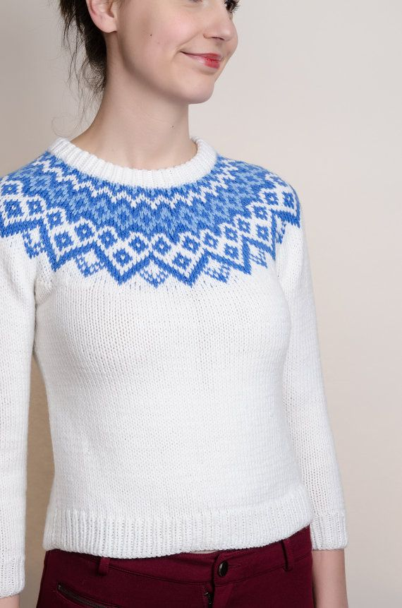 Hand Knitted Sweater - Vintage Blue and White Sweater - XS ...