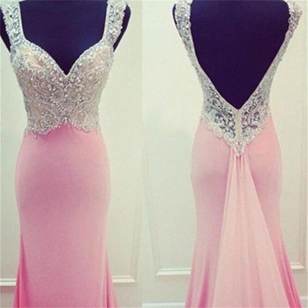 Pink long mermaid open back evening elegant party custom prom