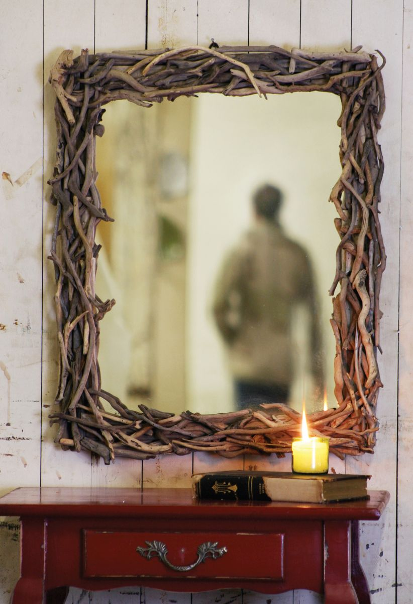 DIY Driftwood Mirror. I Have An Old Medicine Cabinet, Ugly, Pulling Off The  Mirror And Hot Gluing Onto That.