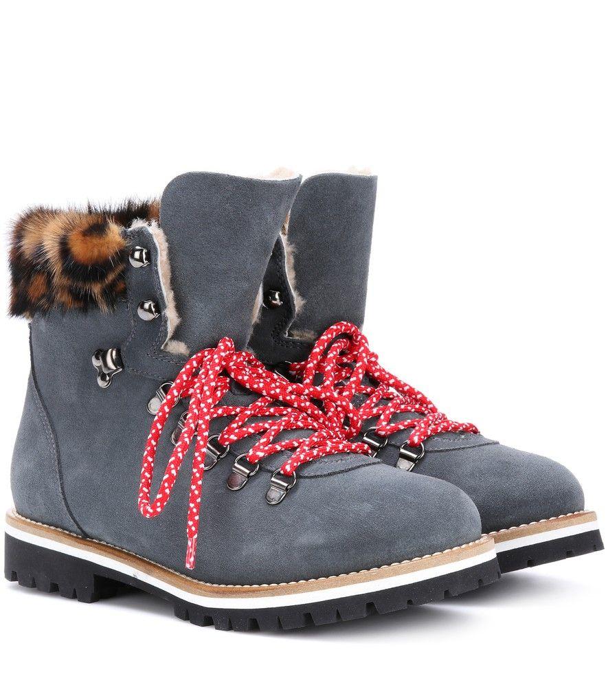 326b655e754c Mr   Mrs Italy - Boots aus Veloursleder mit Pelzfutter - seen   www. mytheresa