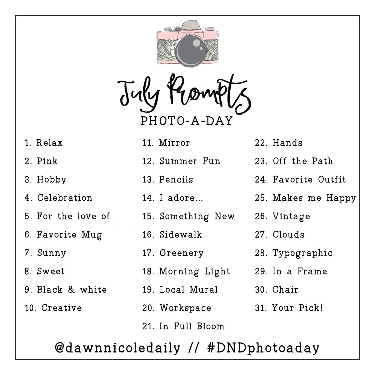 Well Hello Nicole Dawn Photography: July Photo A Day Challenge Prompts
