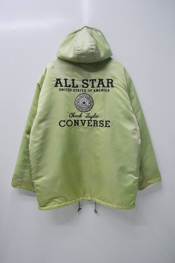 ec833b5f13f7 CONVERSE Jacket Vintage 90 s Converse All Star Chuck Taylor Big Logo Spell  Out Long Winter Zipper Bu