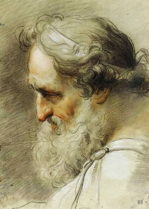 : Study of a Bearded Man. 1780. Gaetano Gandolfi. Italian. 1734-1802. drawing with chalk and sanguine. http://hadrian6.tumblr.com
