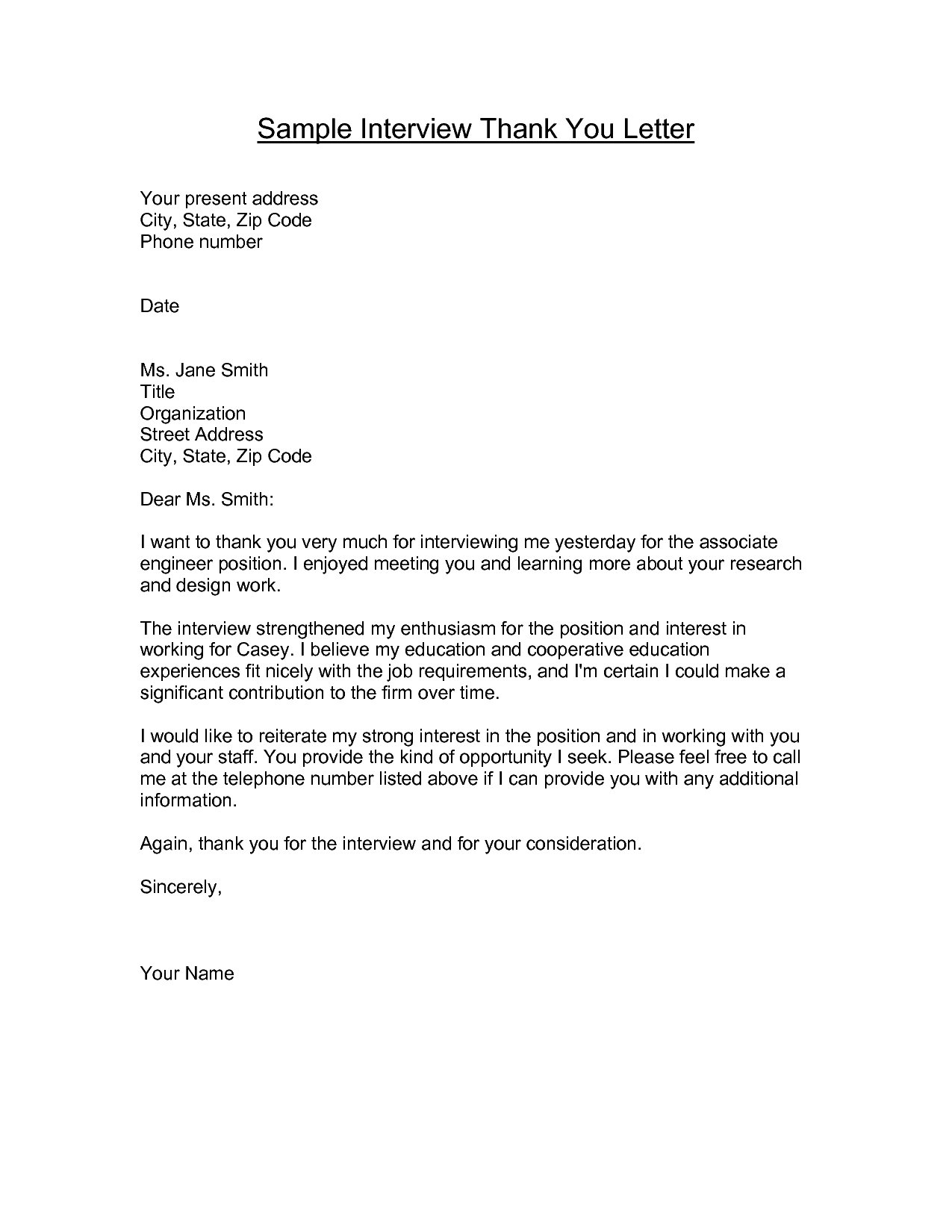 You Interview Letters Template Sample Thank Letter After And Sweet