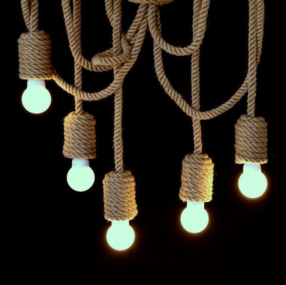 Very long jute rope chandelier 200cm 80 pendant light made very long jute rope chandelier pendant light made from sailing rope nautical lamp marine style hanging light nautical rope aloadofball Gallery