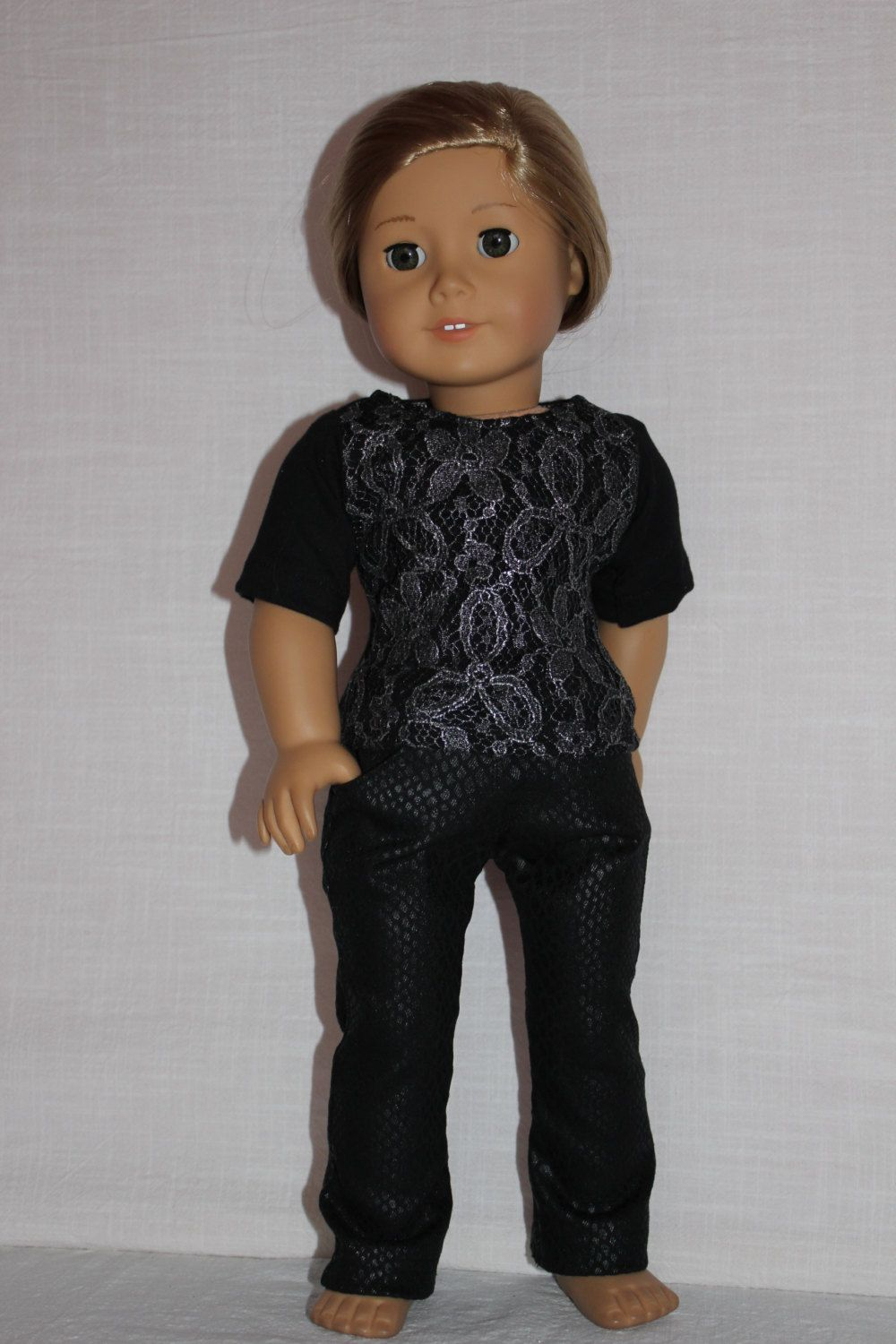18 inch doll clothes,black t-shirt with silver lace overlay, black animal print denim skinny jeans, american girl ,maplelea by magoogesmusedesigns on Etsy