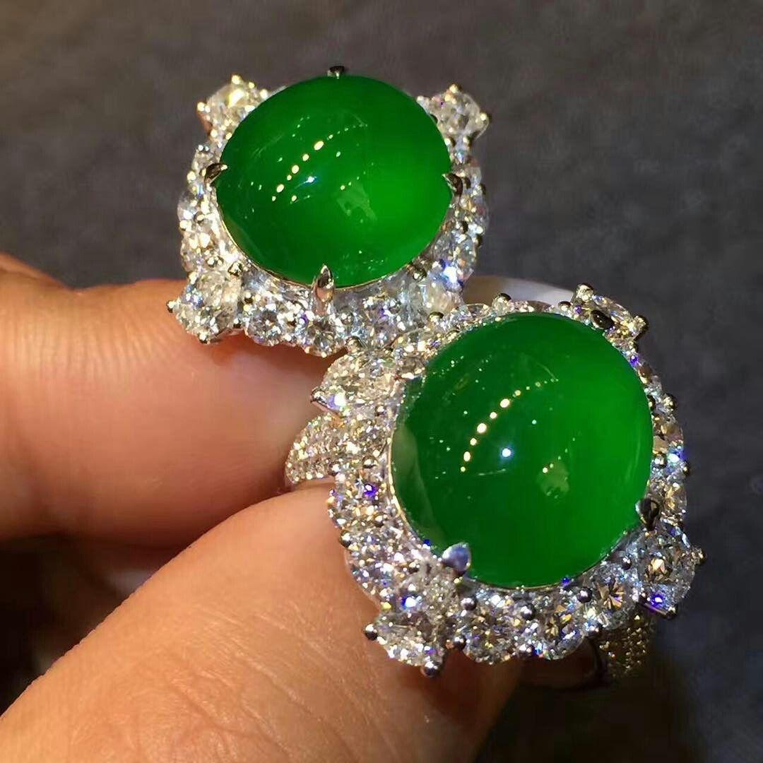 @margueritecaicai. Jadeite ring with diamonds.