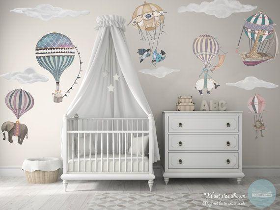Xl Girl Set 7 Hot Air Balloon Animals 9 Clouds Nursery Baby