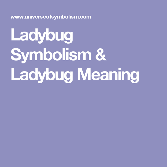 Ladybug Symbolism Ladybug Meaning Just For Me Pinterest