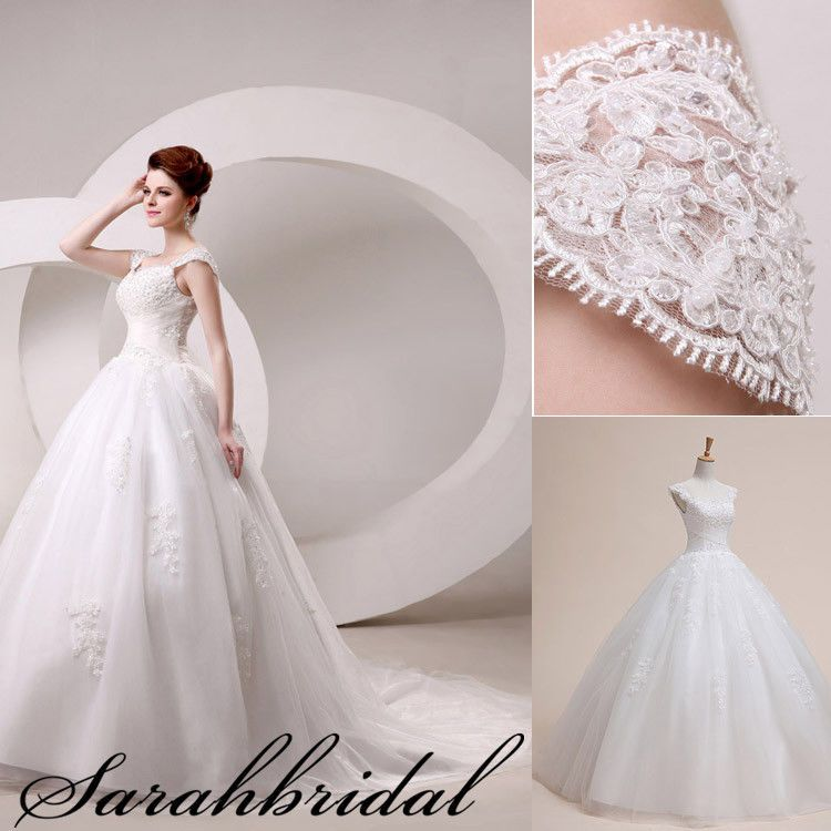 A-line Cap Sleeve Lace Bridal Dresses Ball Gown Wedding Dresses Size ...
