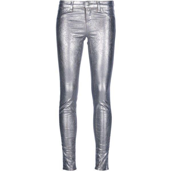 J BRAND metallic skinny jeans ($430) ❤ liked on Polyvore