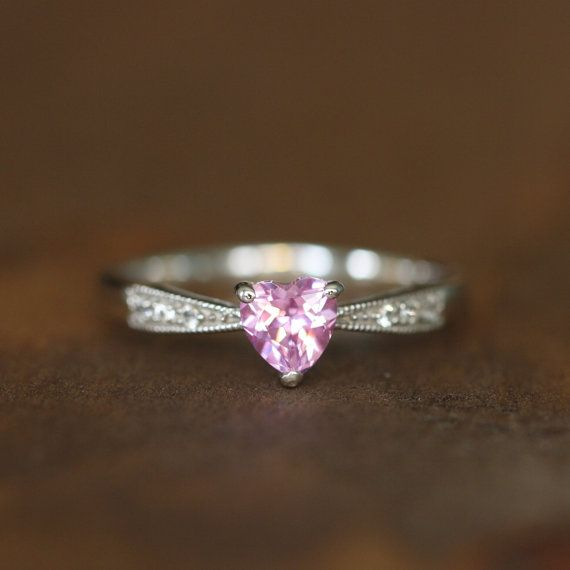 Pink Sapphire Heart Ring In 10k White Gold Solitaire Sapphire Ring September Birthstone Gemstone Ring Size Heart Ring Engagement Rings Sapphire Pink Sapphire