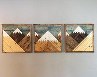 Stained Mountain Tops Set Of 3. Reclaimed Wood Wall Art. Wood Mountains. Mountain Wood Wall Art. Rustic Mountains.