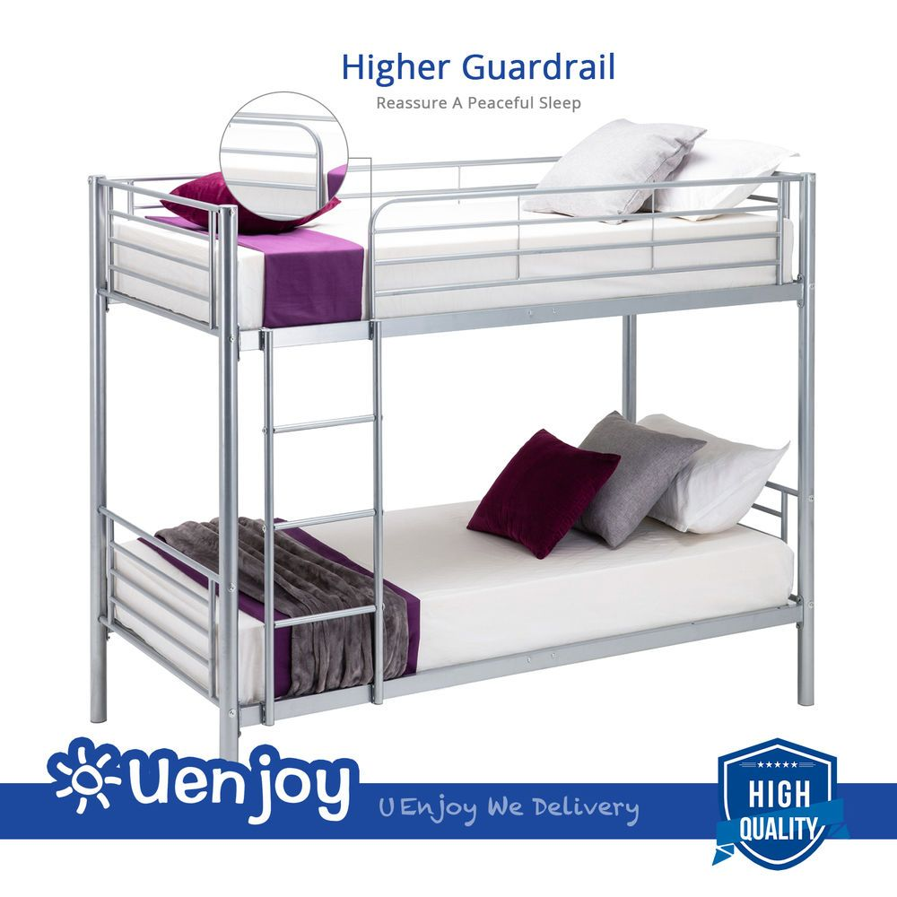 Twin Size Bunk Bed Frame Convertible Twin Over Twin Metal