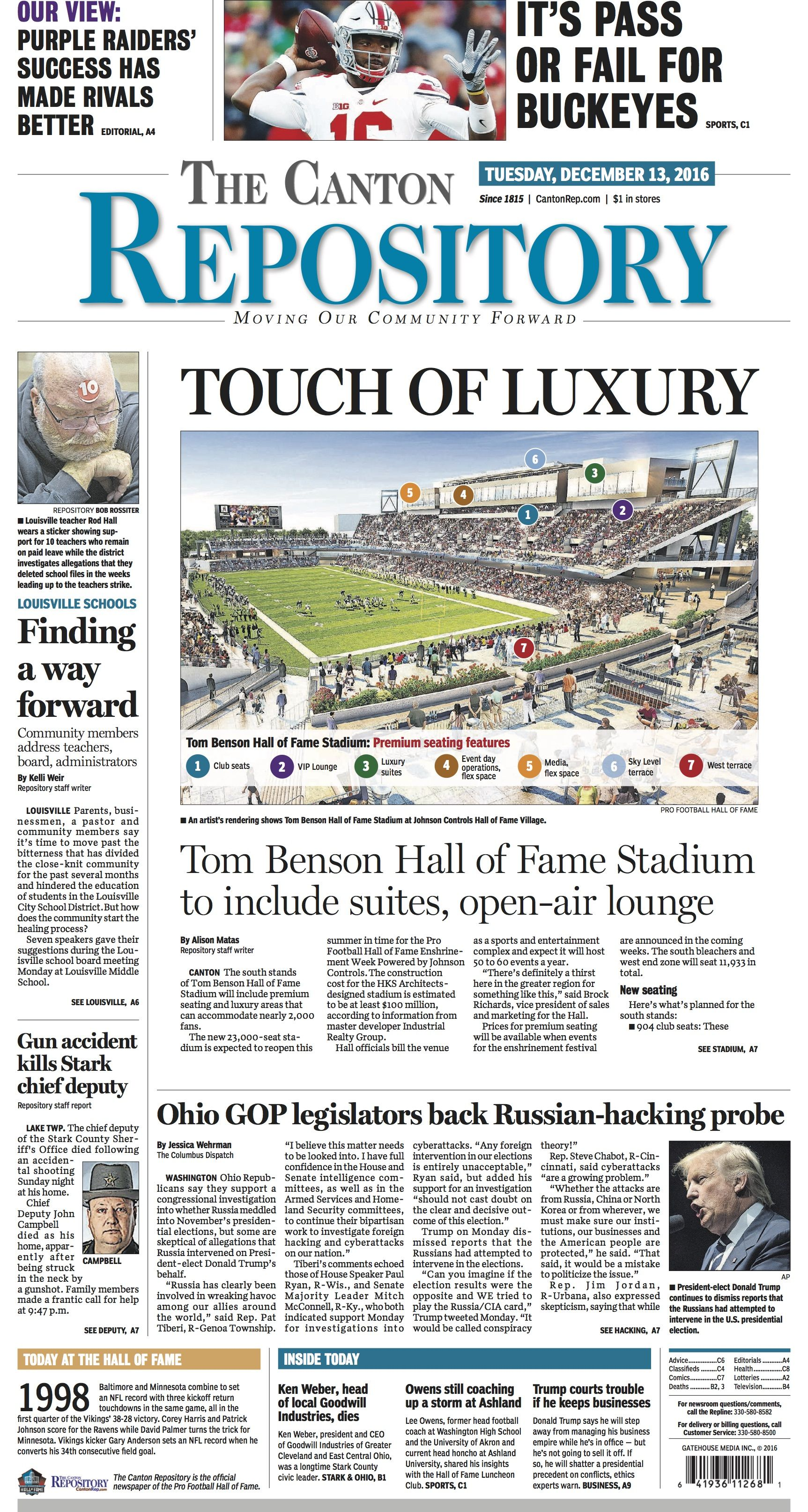 The front page of The Canton Repository for December 13