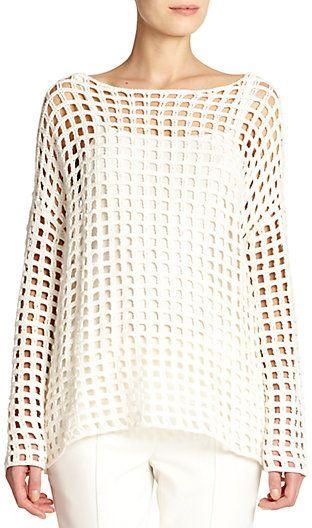 055260f15ee Akris Grid-Knit Crochet Tunic