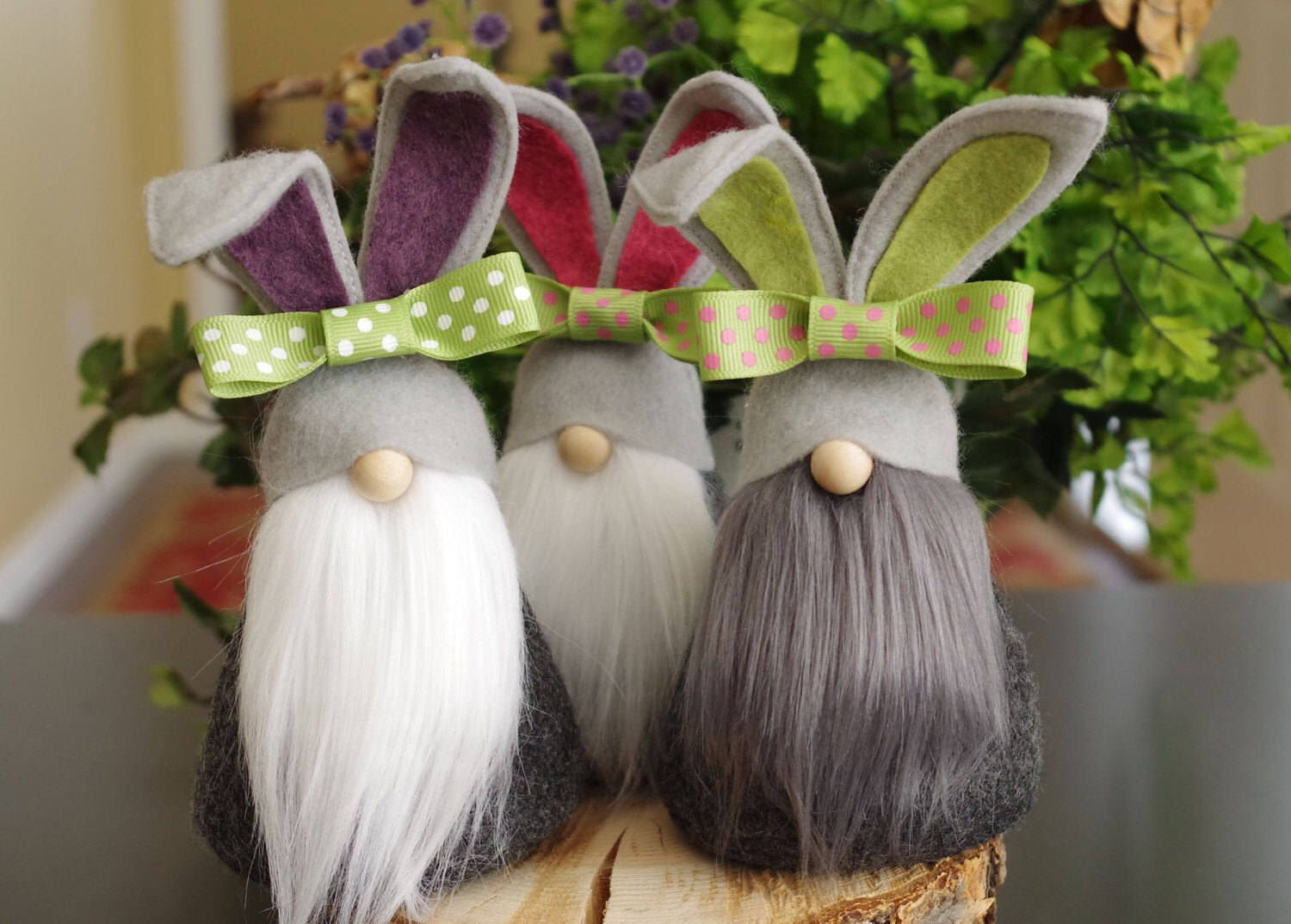 Bunny Gnomes, Hostess Gifts, Nursery, Nordic Gnome, Gifts for Her, Scandinavian Gnomes, Spring, Gnome Gifts, The Gnome Makers by RusticSpoonful on Etsy https://www.etsy.com/listing/502576820/bunny-gnomes-hostess-gifts-nursery