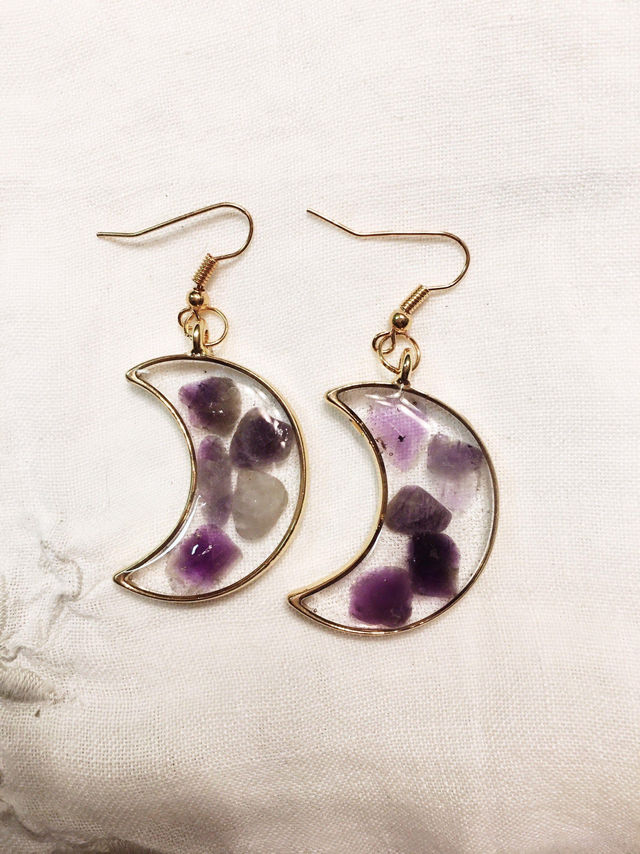 Moon Creole earrings and amethyst stone