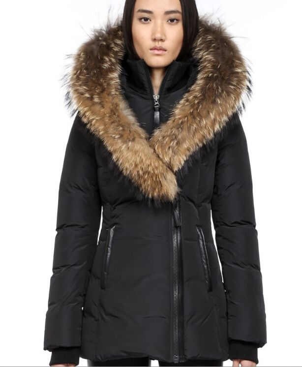 ADALI-F4 BLACK FITTED WINTER DOWN COAT WITH FUR HOOD | My dream ...