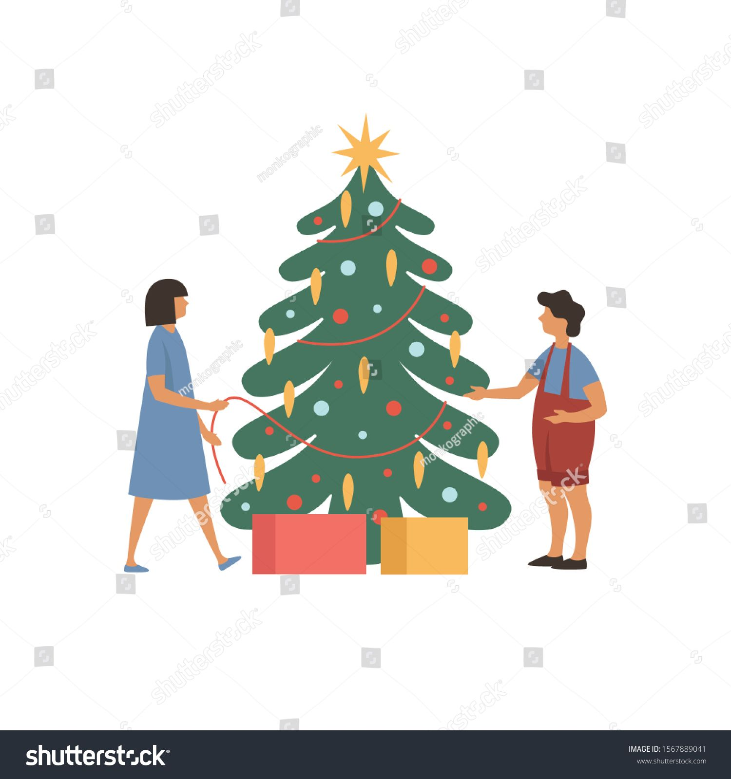 Cartoon Kids Decorate A Christmas Tree Preparing For The New Year Holidays Xmas Tradition And Winter Holid Christmas Tree Decorations Kids Decor Cartoon Kids Download 2,504 cartoon christmas tree free vectors. cartoon kids decorate a christmas tree