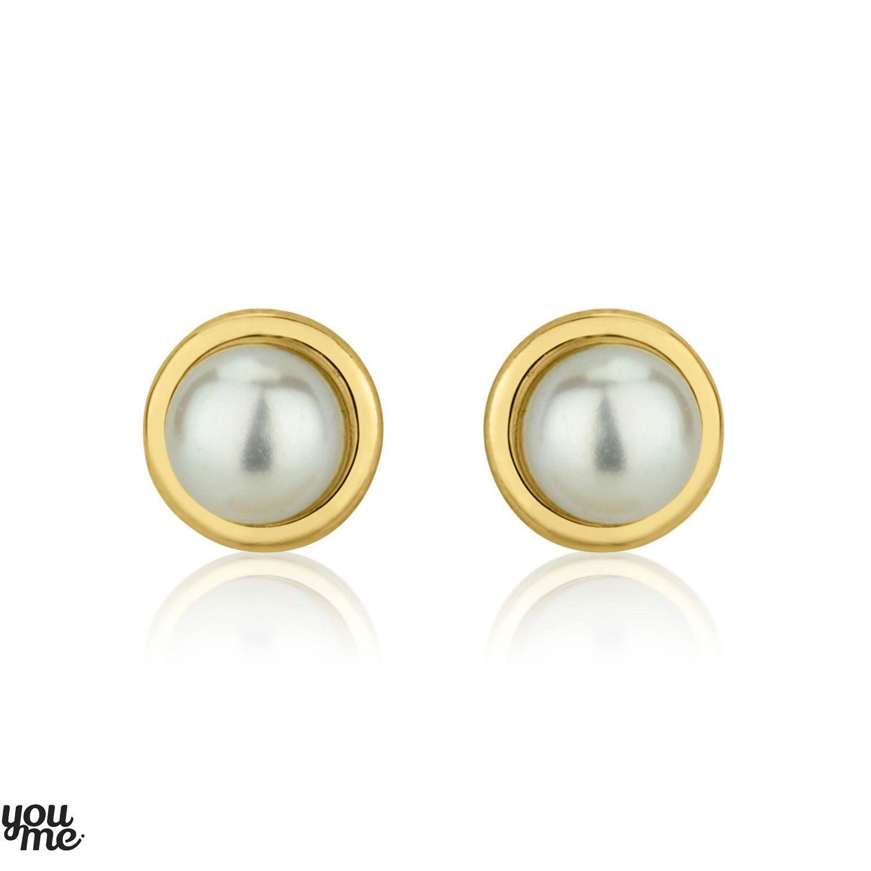Pearl Stud Earrings Delicate Earrings 14K Yellow Gold Earrings